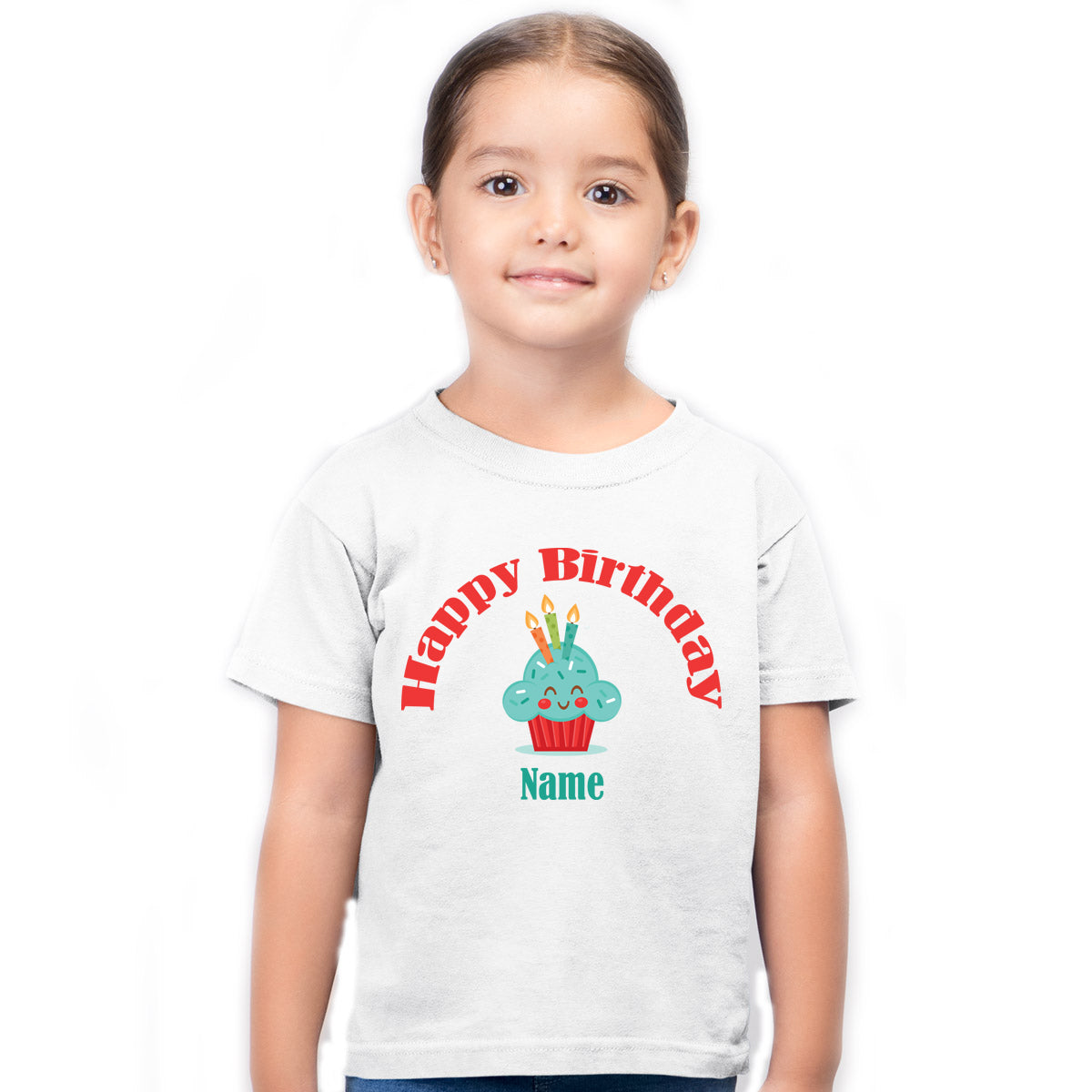 Sprinklecart Happy Birthday Printed Personalized Cup Cake Poly-Cotton T Shirt for Kids (White)