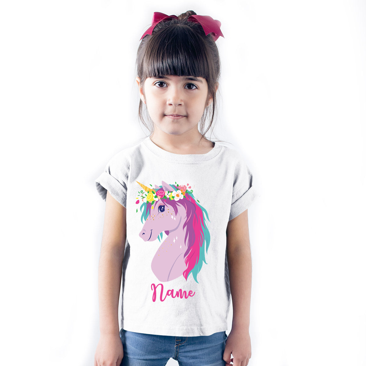Sprinklecart Ideal Unicorn Personalized Name Printed Poly-Cotton T Shirt for Kids (White)