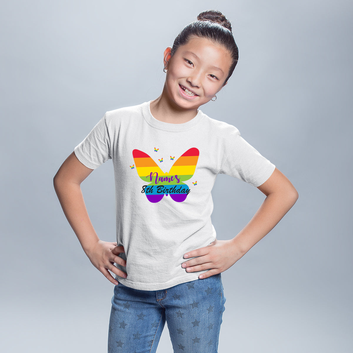 Sprinklecart Custom Name Printed Rainbow Butterfly 8th Birthday Kids Poly-Cotton T Shirt (White)