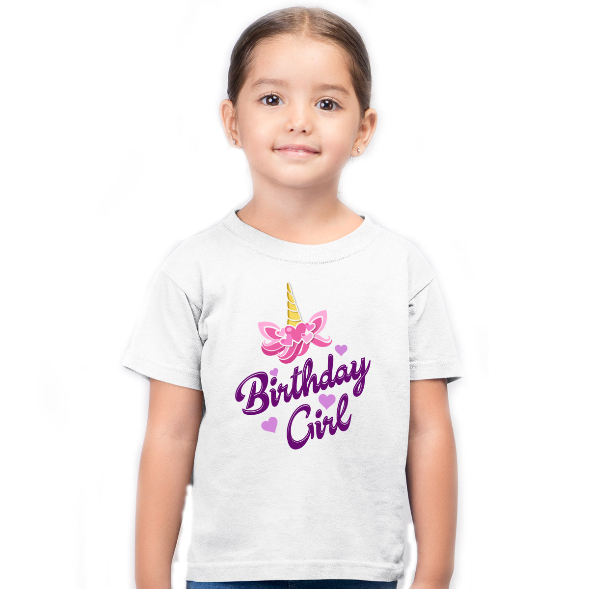 Sprinklecart Birthday Girl Printed Cute Unicorn Poly-Cotton Kids T Shirt (White)