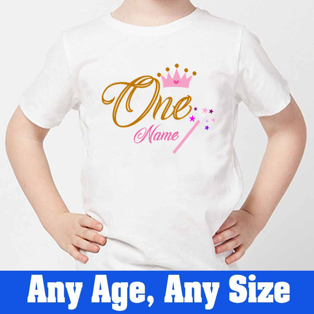 Sprinklecart Custom Name and Age Printed First Birthday Poly-Cotton T Shirt Wear for Kids (White)