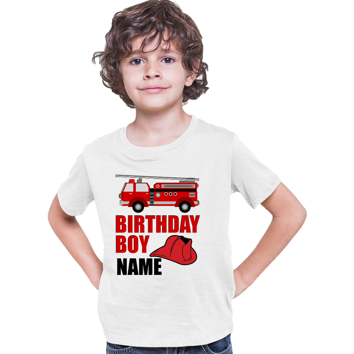 Sprinklecart Customized Fire Vehicle Poly-Cotton Birthday Boy T Shirt for Kids (White)