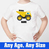 Sprinklecart Personalized Name and Age Printed Construction Vehicle 9th Birthday Poly-Cotton T Shirt for Kids(White)