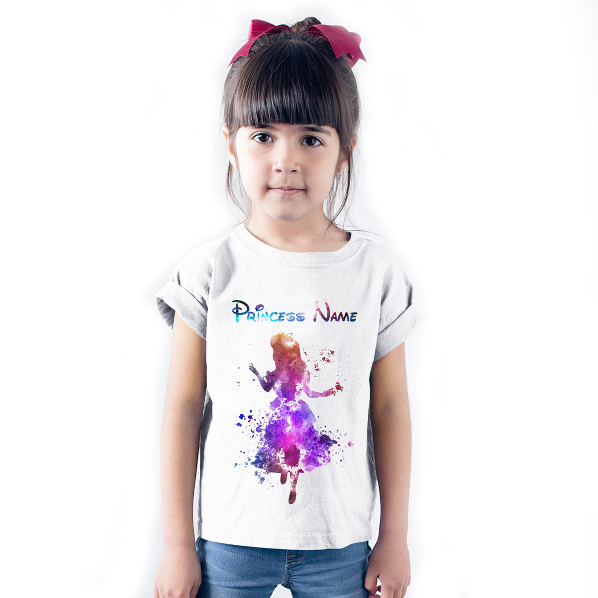 Sprinklecart Princess Personalized Name Printed Kids Poly-Cotton T Shirt Wear (White)