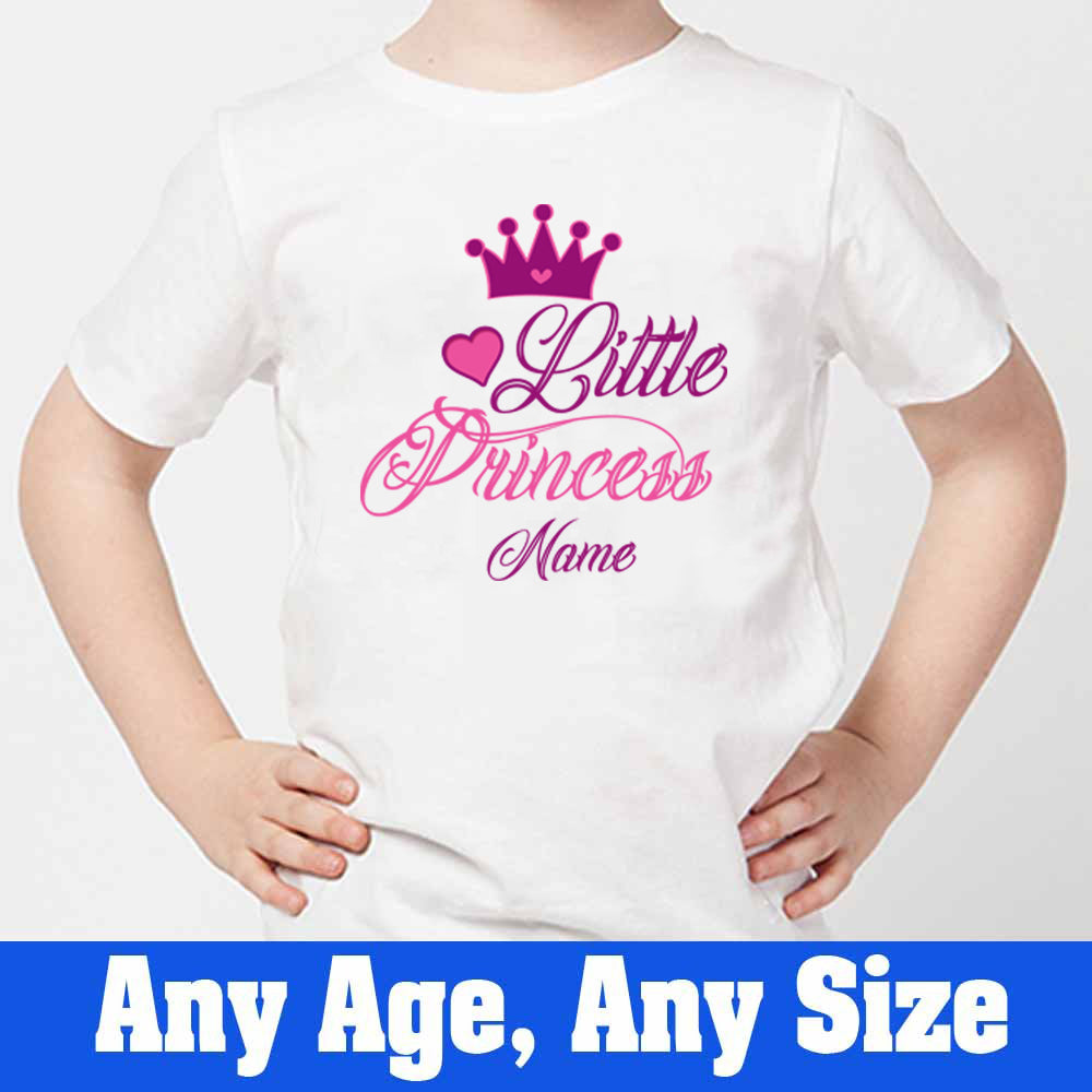 Sprinklecart Customized Little Princess Poly-Cotton T Shirt Wear for Your Kids (White)