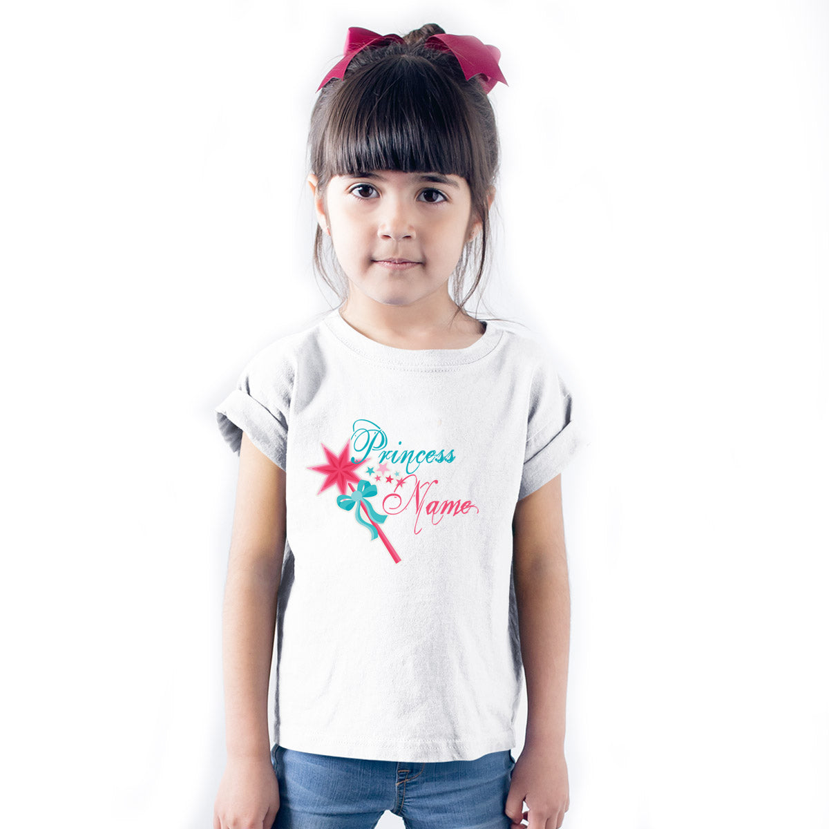 Sprinklecart Personalized Princess Wand Poly-Cotton T Shirt for Kids (White)
