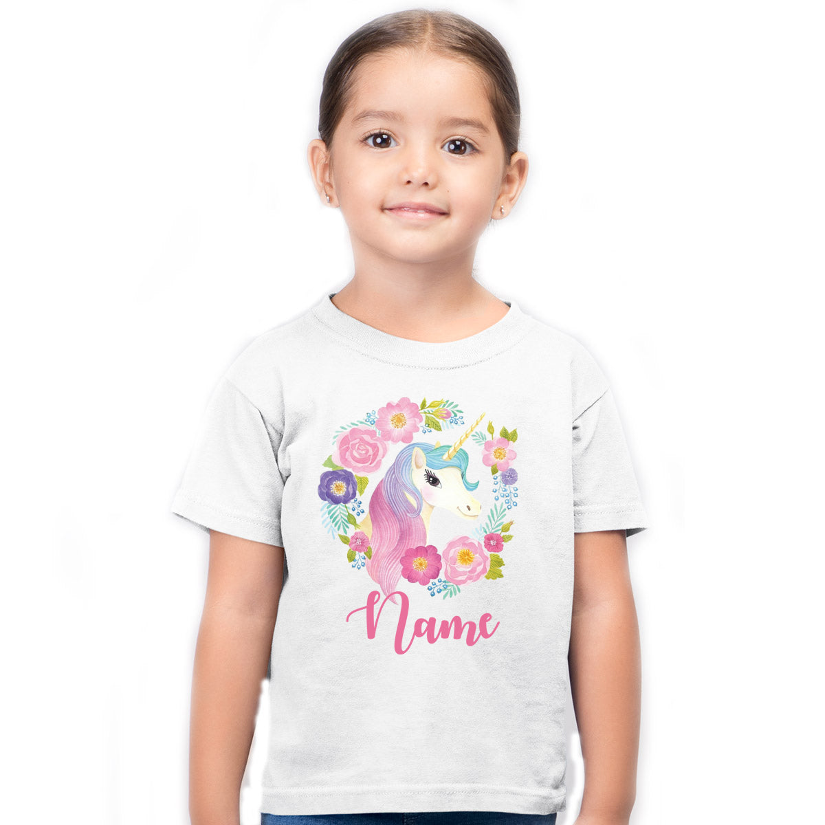 Sprinklecart Custom Name Printed Cute Unicorn Poly-Cotton T Shirt for Kids (White)