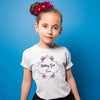 Sprinklecart Purple Floral Themed Personalized Birthday Poly-Cotton Kids T Shirt (White)