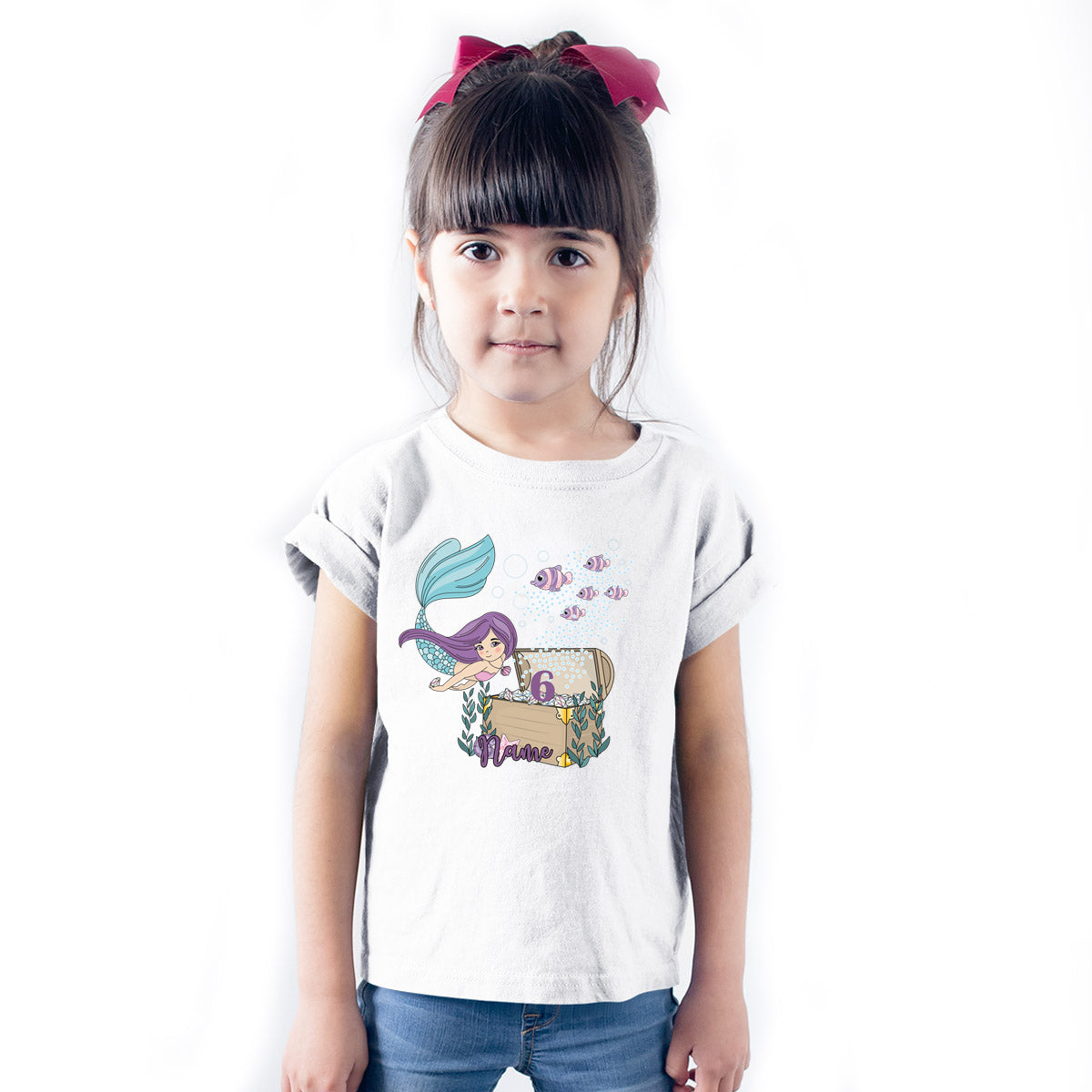 Sprinklecart Customized Cute Mermaid 6th Birthday Poly-Cotton Kids T Shirt Wear (White)