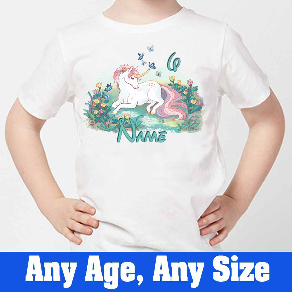 Sprinklecart Customized Cute Unicorn 6th Birthday Poly-Cotton T Shirt for Kids (White)
