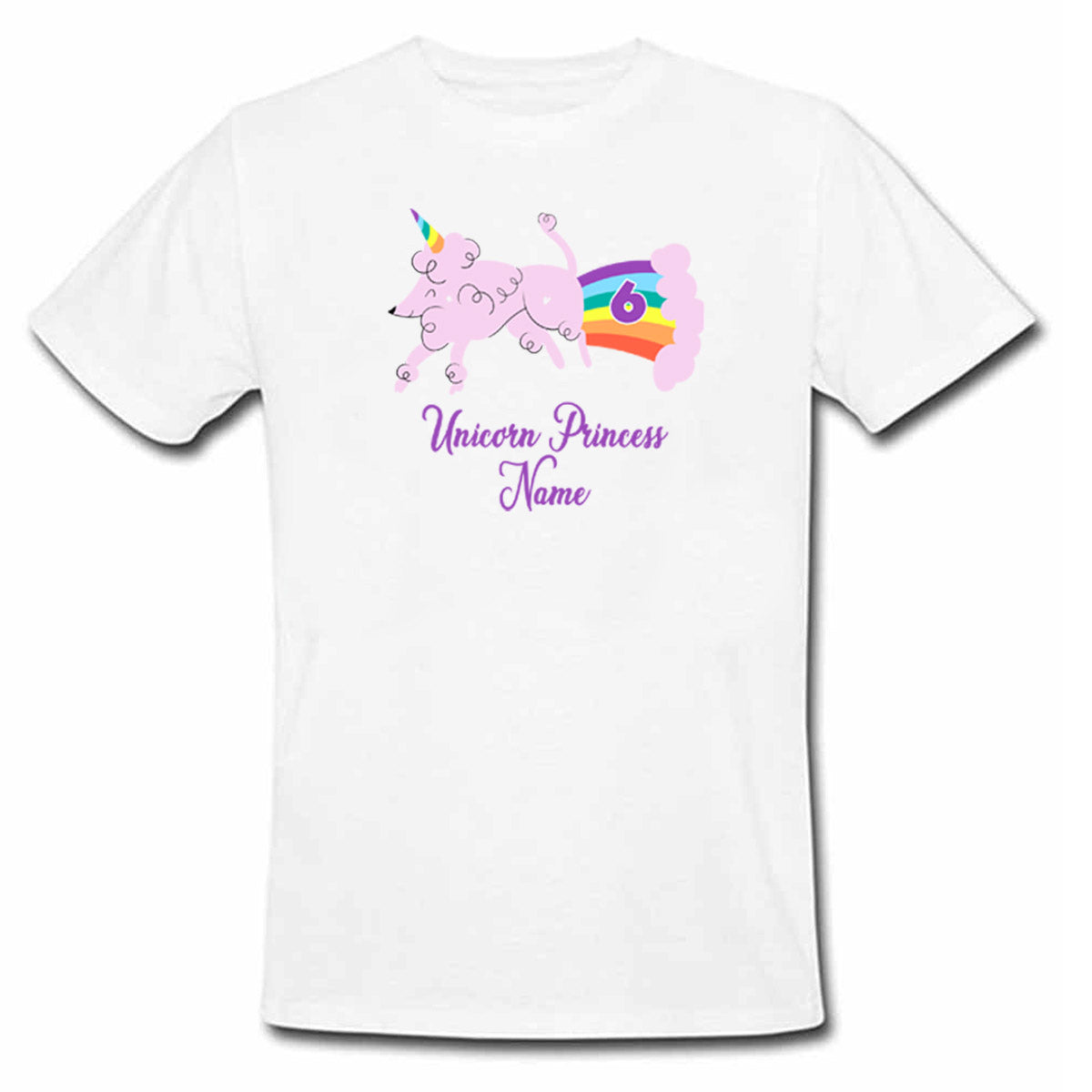 Sprinklecart Ideal Personalized Unicorn Name Printed Poly-Cotton Kids Tee Wear (White)