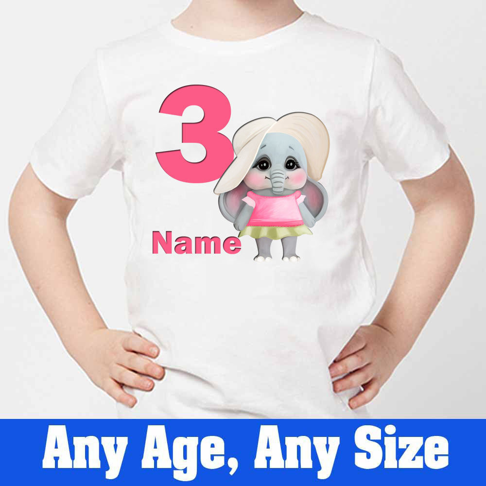 Sprinklecart Customized Name and Age Printed Little Elephant 3rd Birthday Kids Poly-Cotton T Shirt (White)