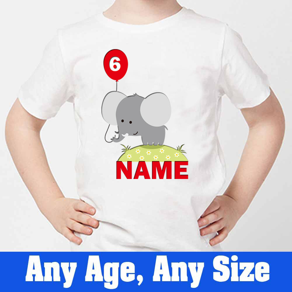 Sprinklecart Personalized Name and Age Printed 6th Birthday Elephant Kids Poly-Cotton T Shirt (White)