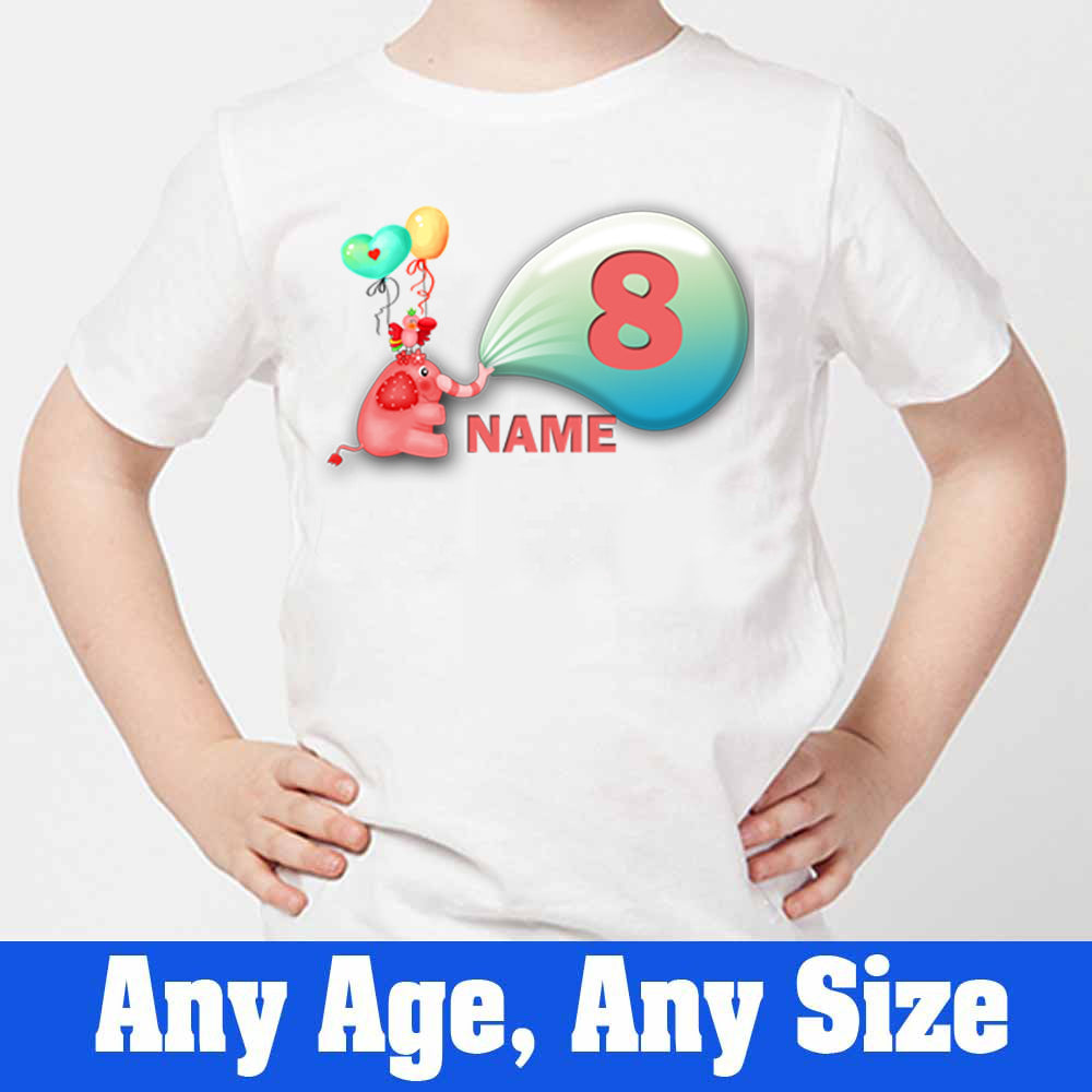 Sprinklecart Custom Name and Age Printed Elephant Poly-Cotton T Shirt for Kids (White)