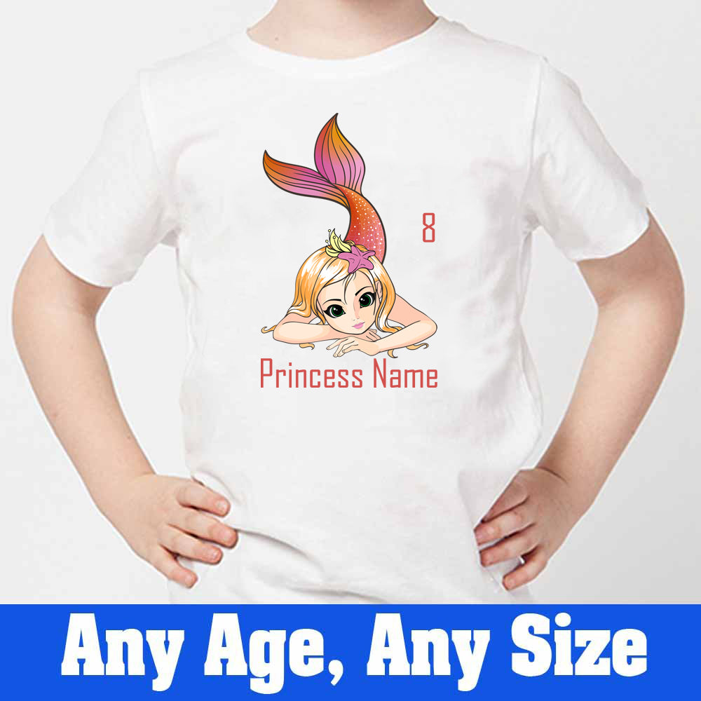 Sprinklecart Mermaid Princess 8th Birthday Poly-Cotton Customized T Shirt for Kids (White)