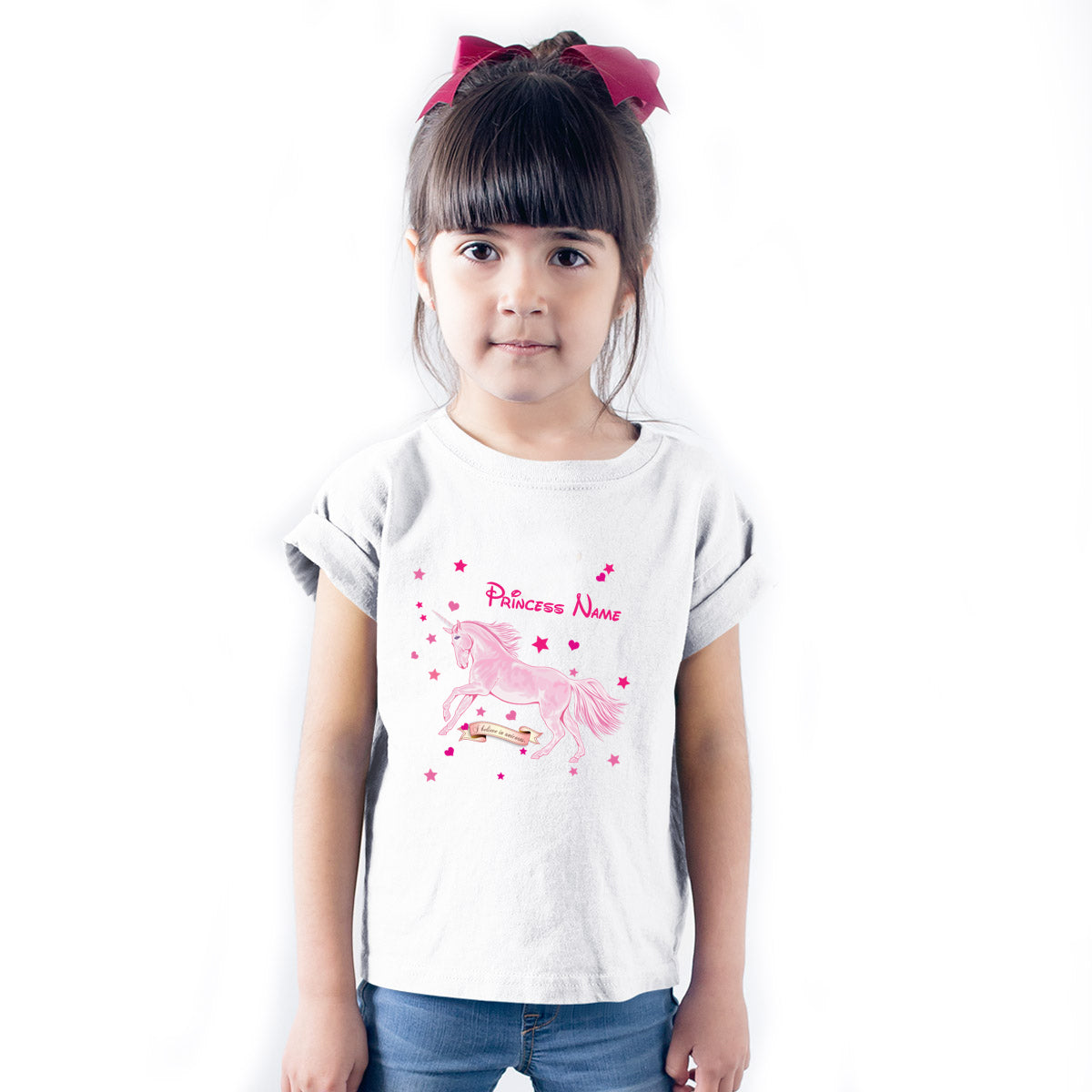 Sprinklecart Personalized Name Printed Unicorn Poly-Cotton T Shirt Wear for Kids (White)
