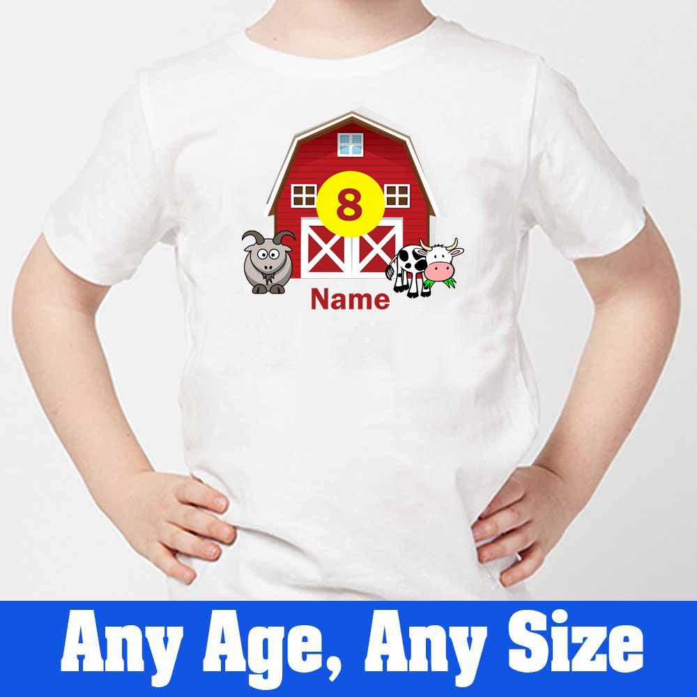 Sprinklecart Custom Name and Age Printed Poly-Cotton Farm House Kids T Shirt (White)