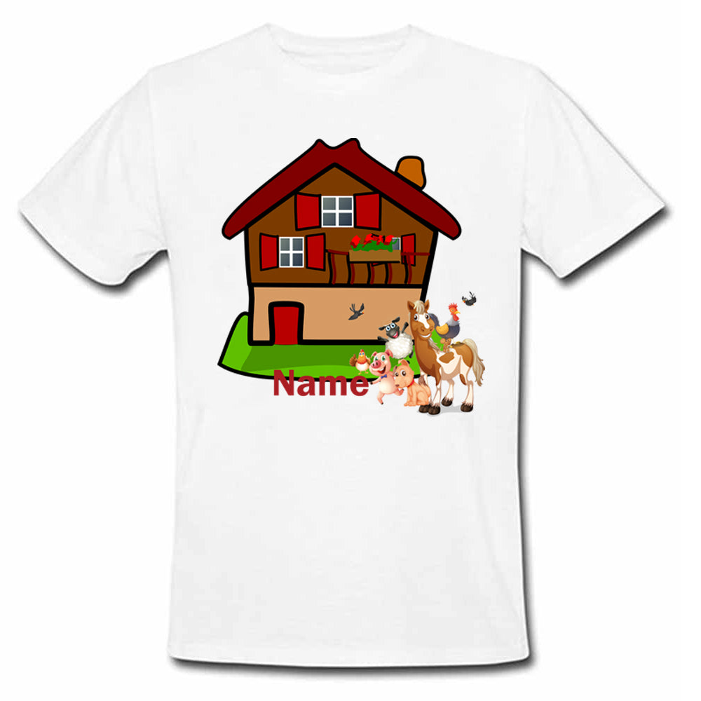 Sprinklecart Customized Farm House Themed Poly-Cotton T Shirt Wear for Kids (White)
