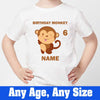 Sprinklecart Personalized Name and Age Printed Birthday Monkey's Poly-Cotton T Shirt for Kids (White)