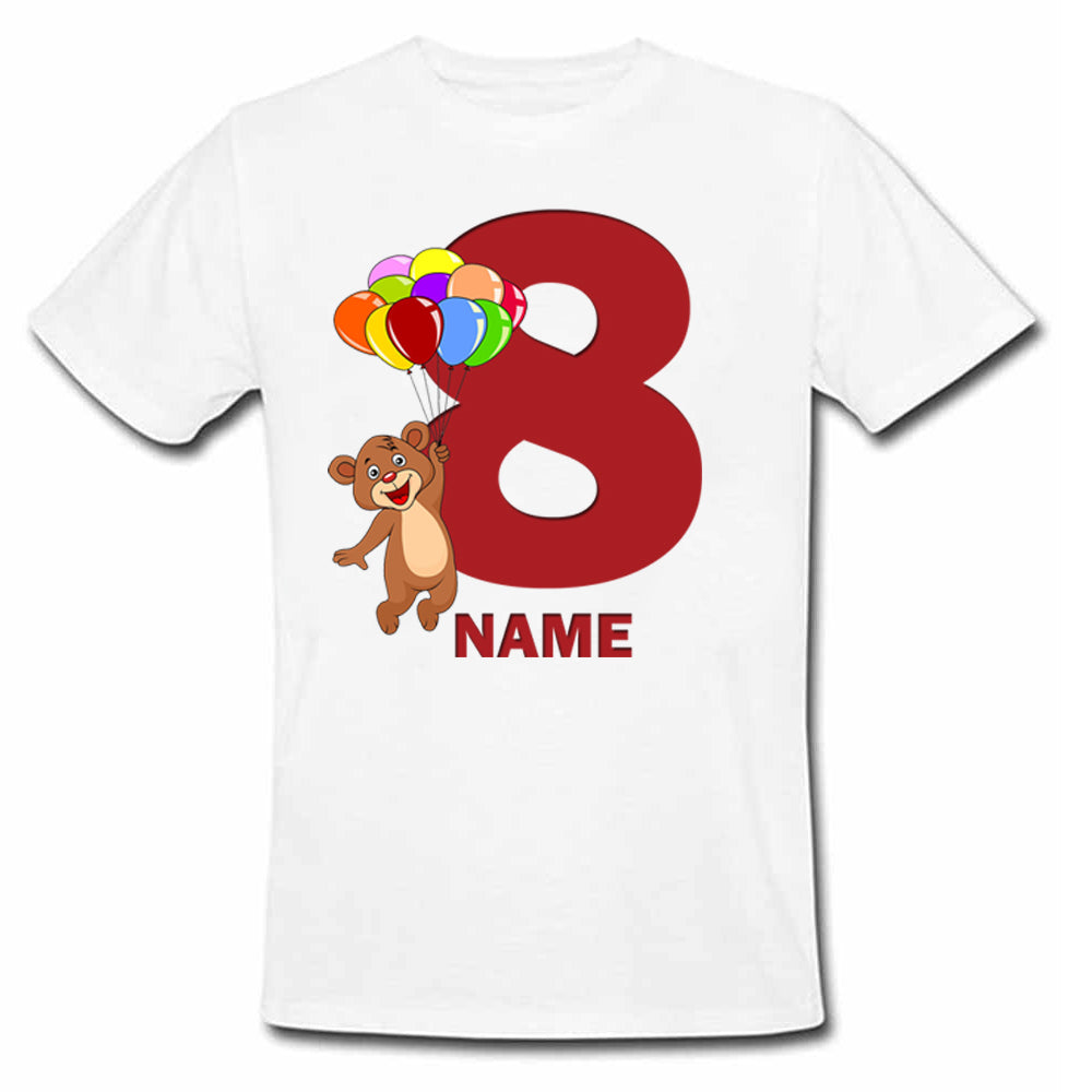 Sprinklecart Personalized Name and Age Printed Bear 8th Birthday Poly-Cotton T Shirt for Kids (White)