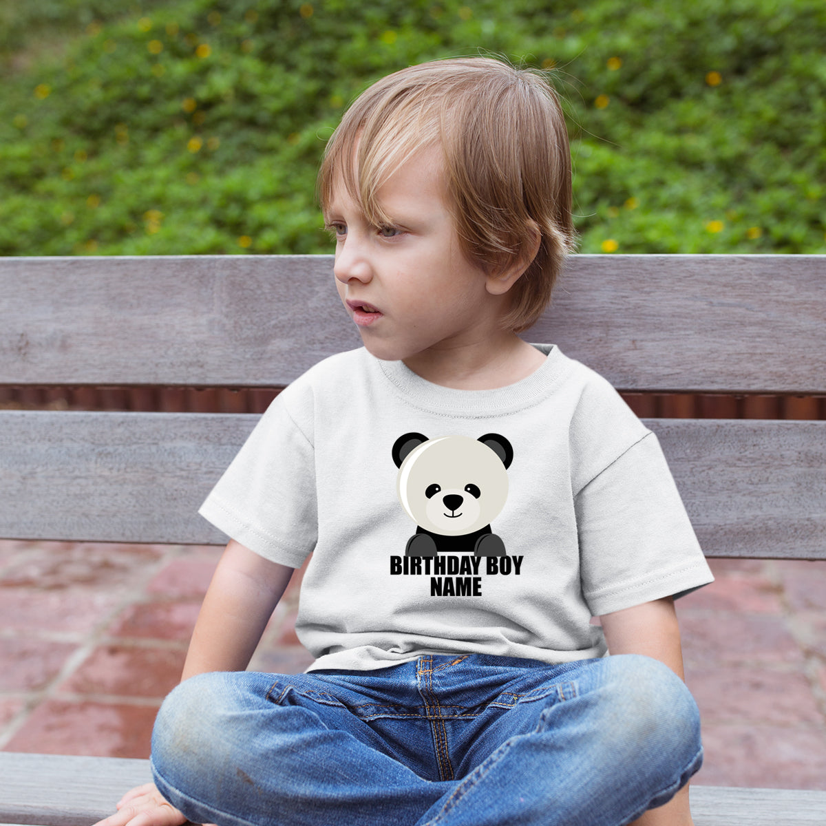 Sprinklecart Cute Little Panda Customized Poly-Cotton T Shirt Wear for Kids (White)