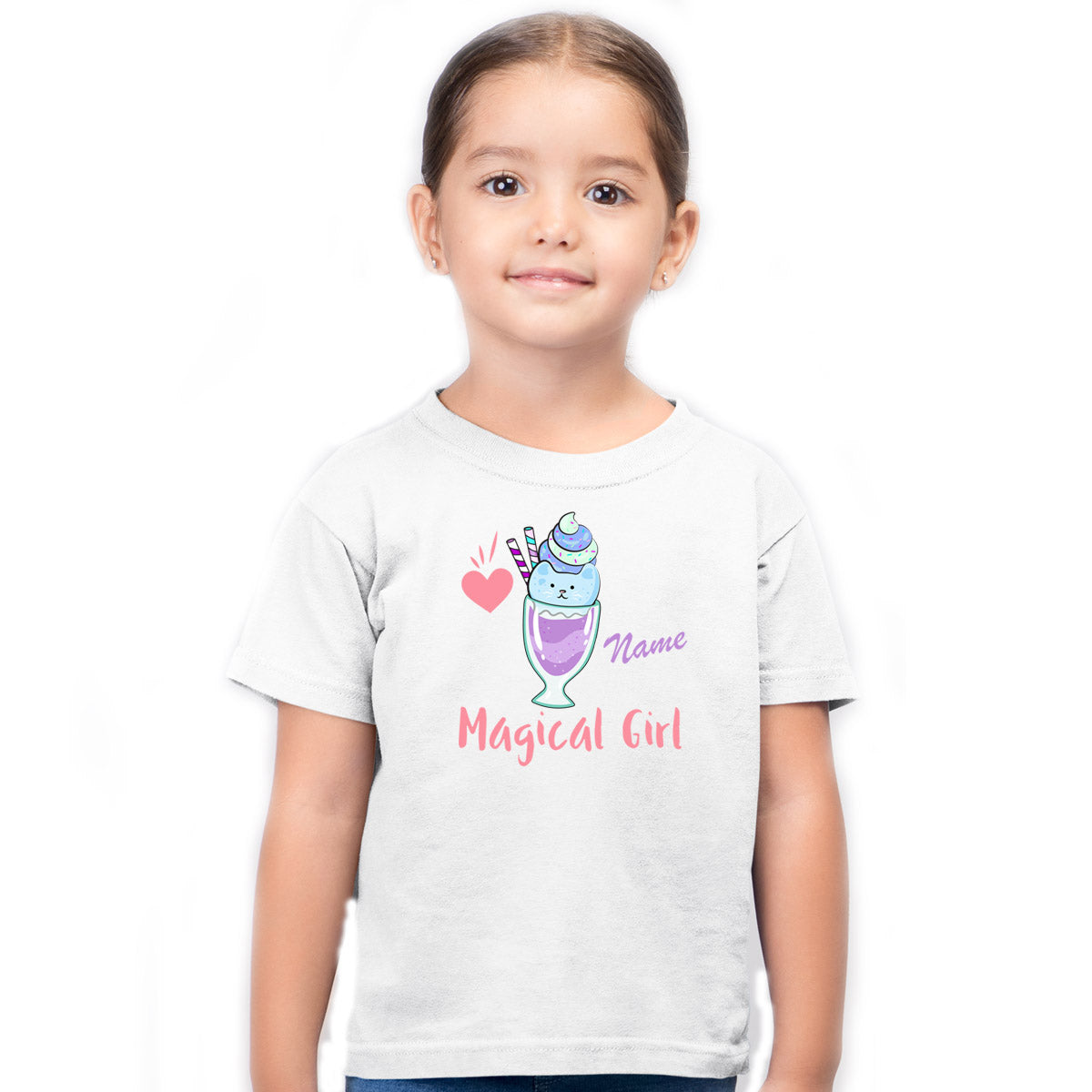 Sprinklecart Personalized Name Printed Magical Girl Printed Kids Poly-Cotton T Shirt (White)