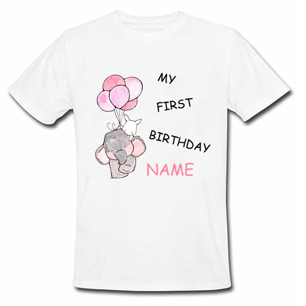 Sprinklecart My First Birthday Printed Poly-Cotton T Shirt for Kids (White)