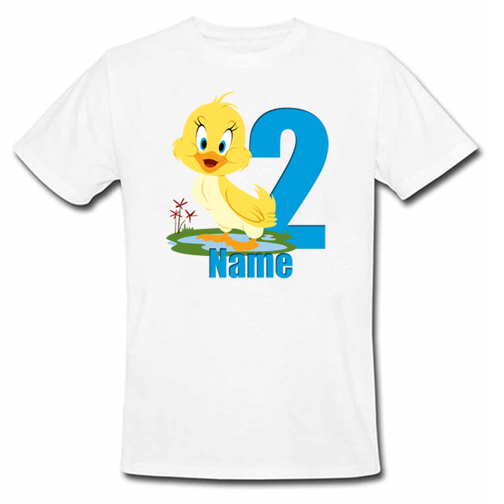 Sprinklecart Custom Name and Age Printed Duck 2nd Birthday Poly-Cotton T Shirt for Kids (White)