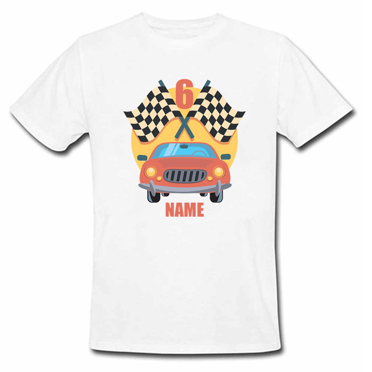 Sprinklecart Custom Name and Age Printed 6th Birthday Racing Car Poly-Cotton T Shirt Wear for Kids (White)