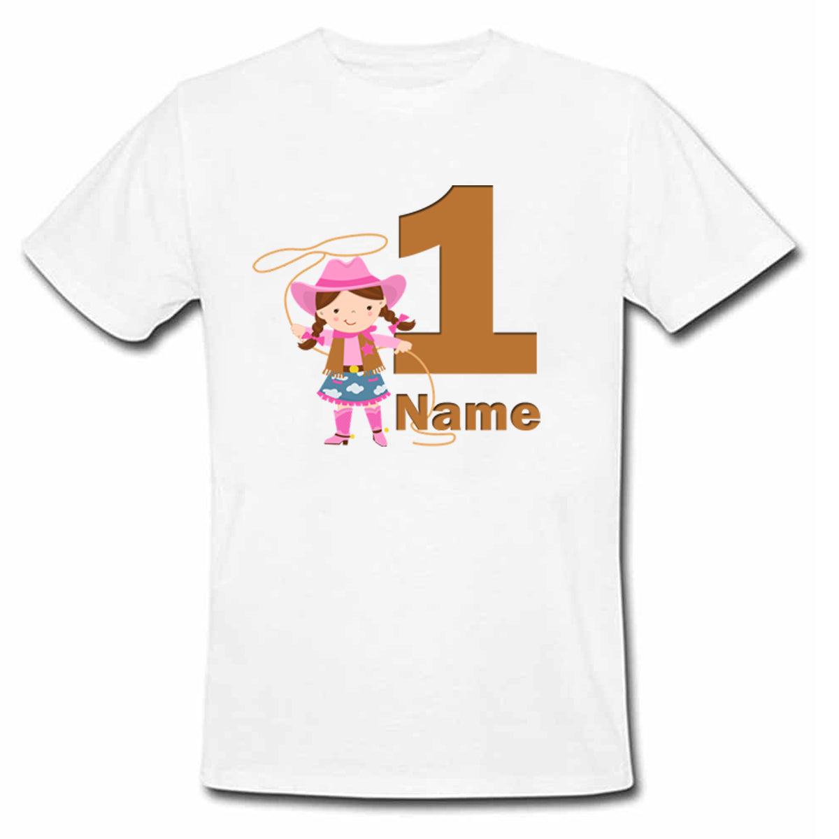 Sprinklecart Personalized Name Printed Cow Girl First Birthday Poly-Cotton T Shirt Wear for Kids (White)