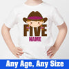 Sprinklecart Personalized Cow Girl 5th Birthday Poly-Cotton T Shirt for Kids (White)