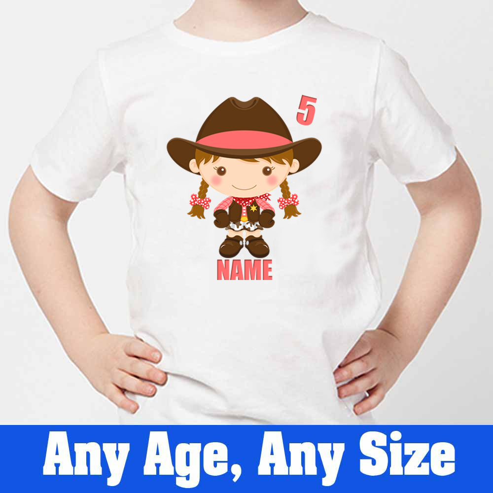 Sprinklecart Customized Name and Age Printed 5th Birthday Cow Girl Poly-Cotton T Shirt for Kids (White)