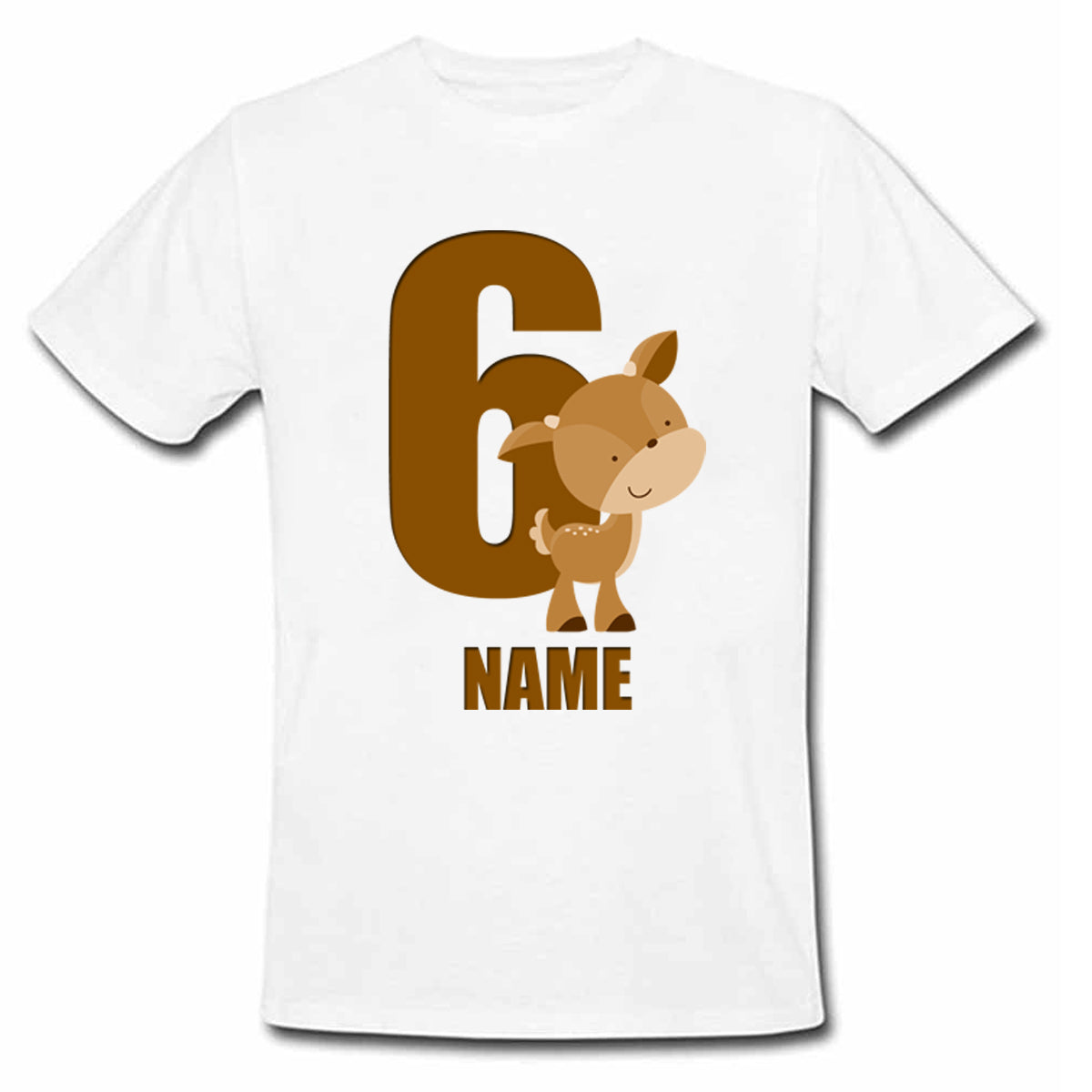 Sprinklecart Customized 6th Birthday Cute Deer Poly-Cotton T Shirt for Kids (White)