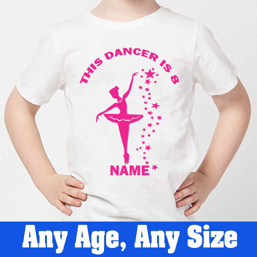 Sprinklecart This Dancer is 8 Printed Ballet Dancer Personalized Kids Poly-Cotton T Shirt (White)