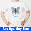 Sprinklecart Personalized Ballet Butterfly Poly-Cotton Birthday T Shirt for Kids (White)