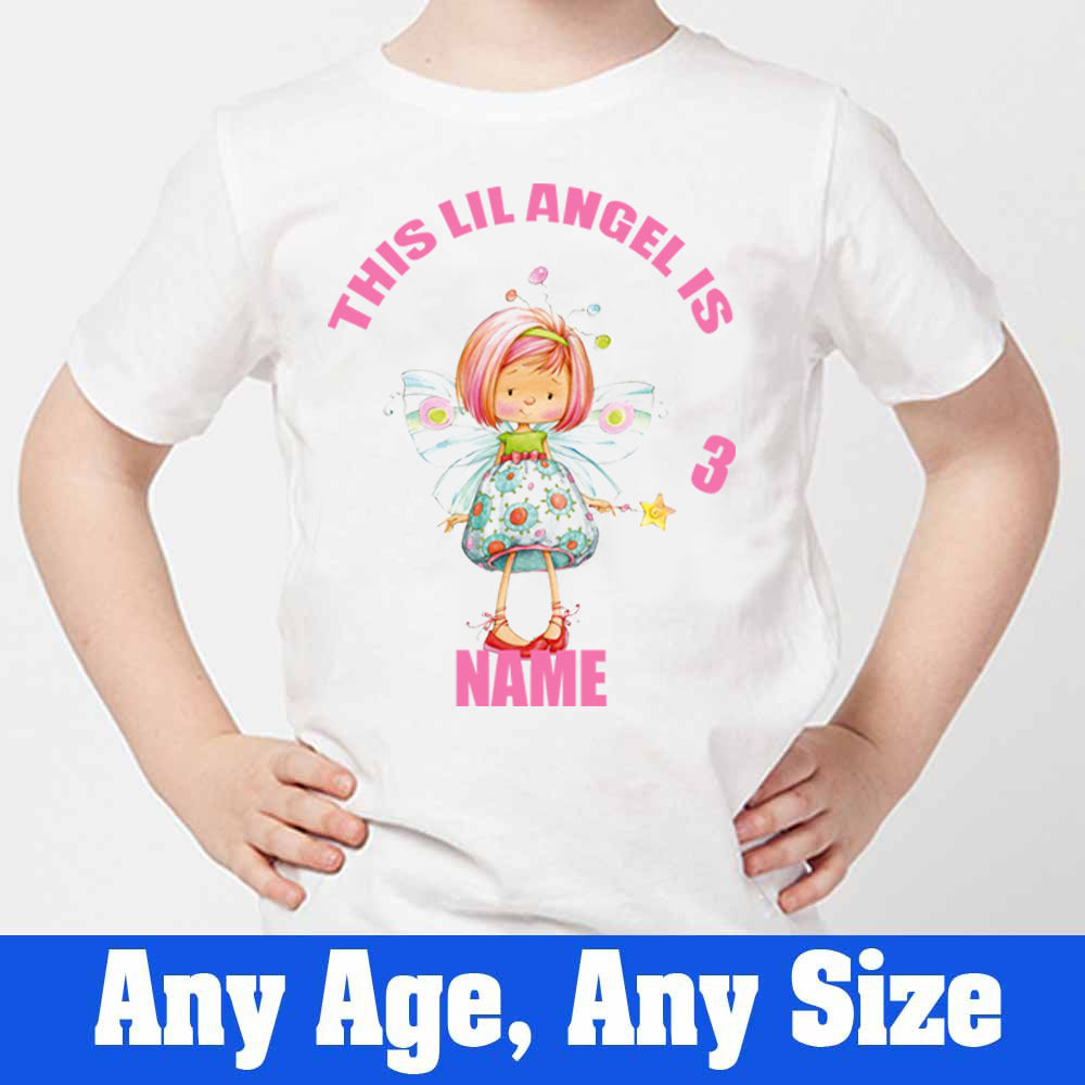 Sprinklecart This Lil Angel is 3 Printed Personalized Kids Poly-Cotton T Shirt (White)
