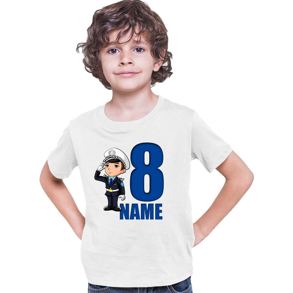 Sprinklecart Personalized Name and Age Printed Police Man 8th Birthday Poly-Cotton T Shirt for Kids (White)