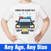 Sprinklecart Sound The Alarm I'm 3 Printed Customized Police Vehicle Kids Poly-Cotton T Shirt (White)