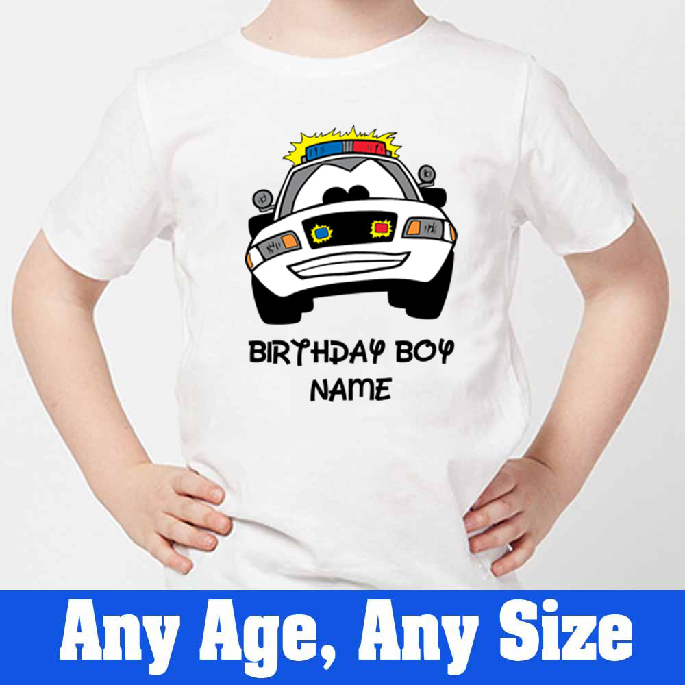 Sprinklecart Custom Name and Age Printed Police Vehicle Poly-Cotton T Shirt Wear (White)