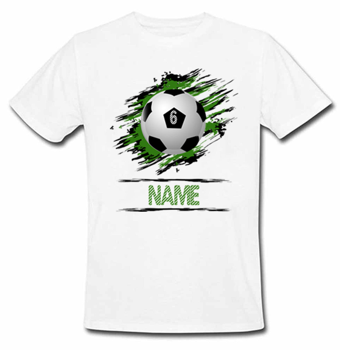 Sprinklecart Personalized Name Printed Football 6th Birthday Kids Poly-Cotton T Shirt (White)