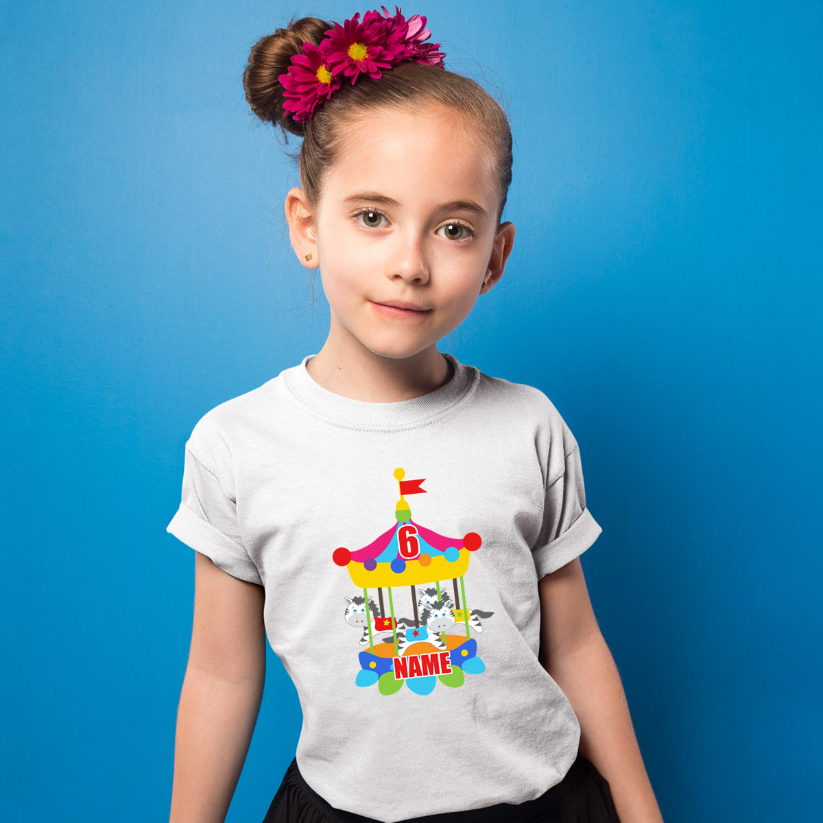 Sprinklecart Custom Name and Age Printed Circus Zibra 6th Birthday Poly-Cotton T Shirt for Kids (White)