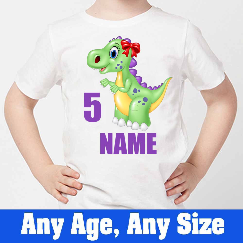 Sprinklecart Custom Name and Age Printed Dinosaur 5th Birthday Kids Poly-Cotton T Shirt (White)