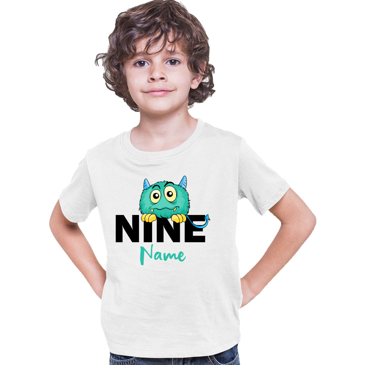 Sprinklecart Cute Monster 9th Birthday Customized Poly-Cotton Kids T Shirt Wear (White)