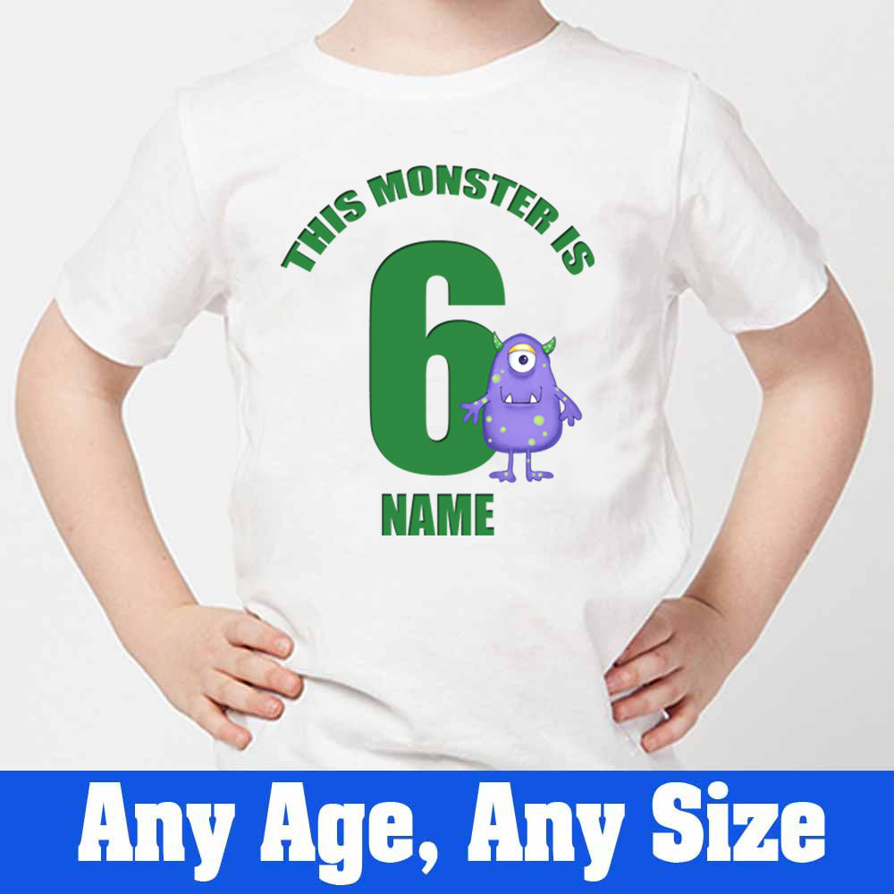 Sprinklecart Custom Name and Age Printed Monster 6th Birthday Kids Poly-Cotton T Shirt (White)