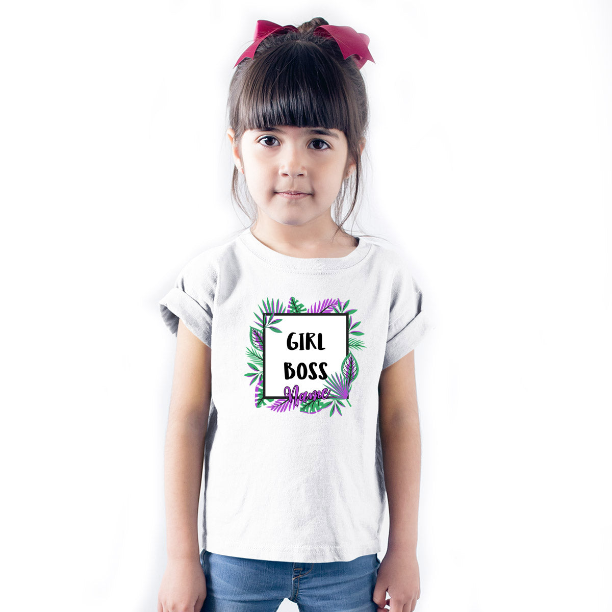 Sprinklecart Customized Girl Boss Poly-Cotton T Shirt Wear for Your Kid (White)