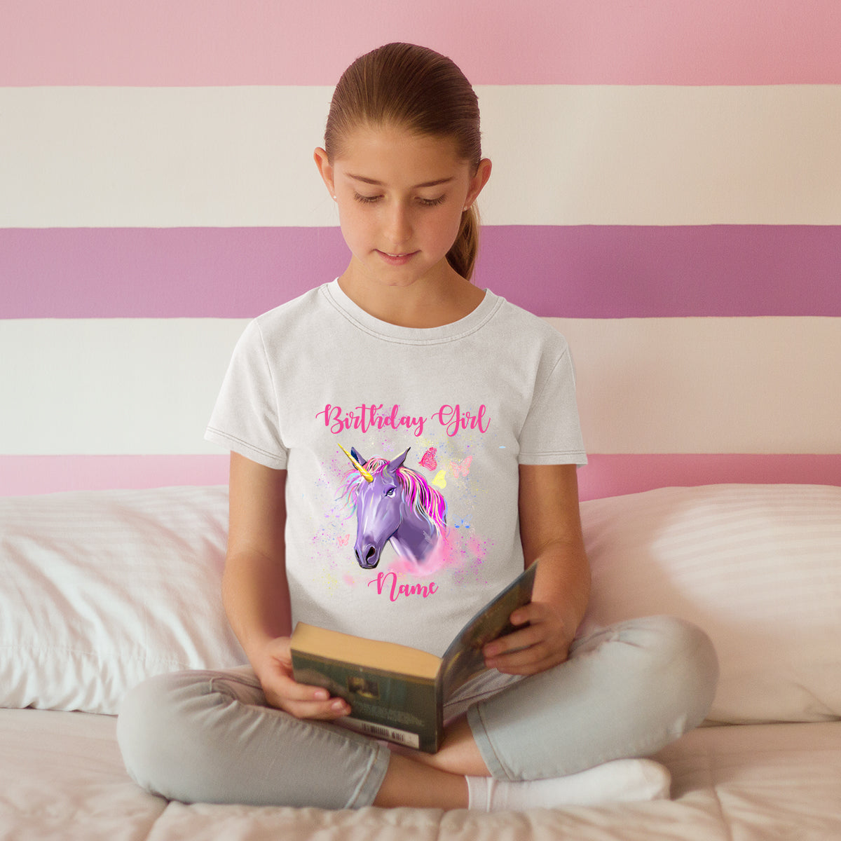 Sprinklecart Cute Unicorn Custom Name Printed Poly-Cotton T Shirt for Kids (White)