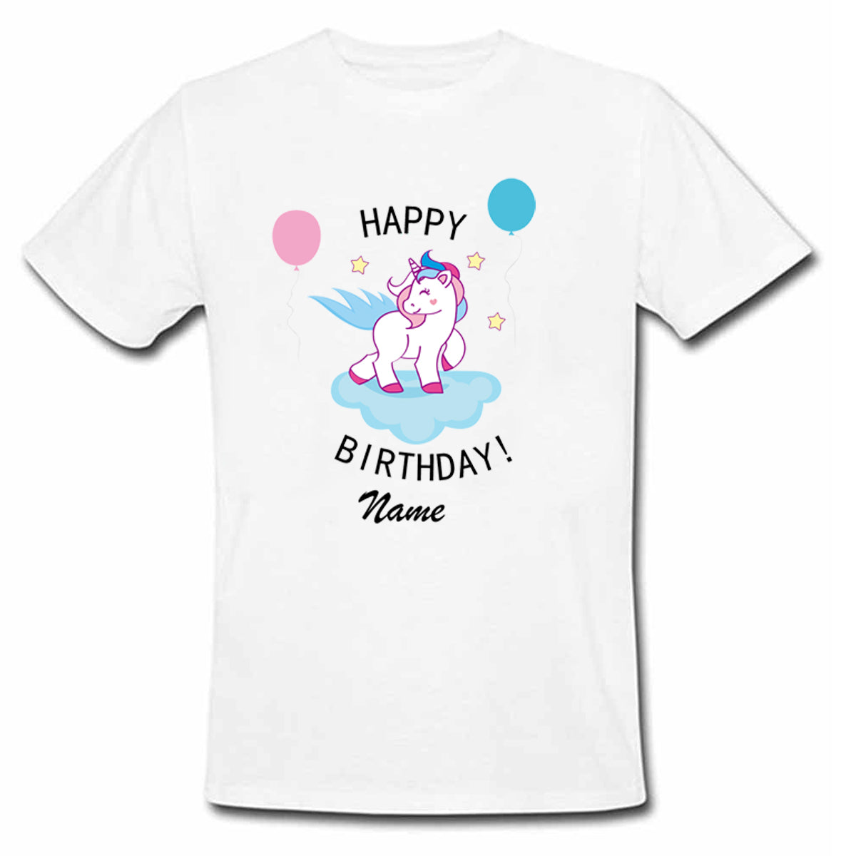 Sprinklecart Personalized Happy Birthday Printed Unicorn Poly-Cotton T Shirt for Kids (White)