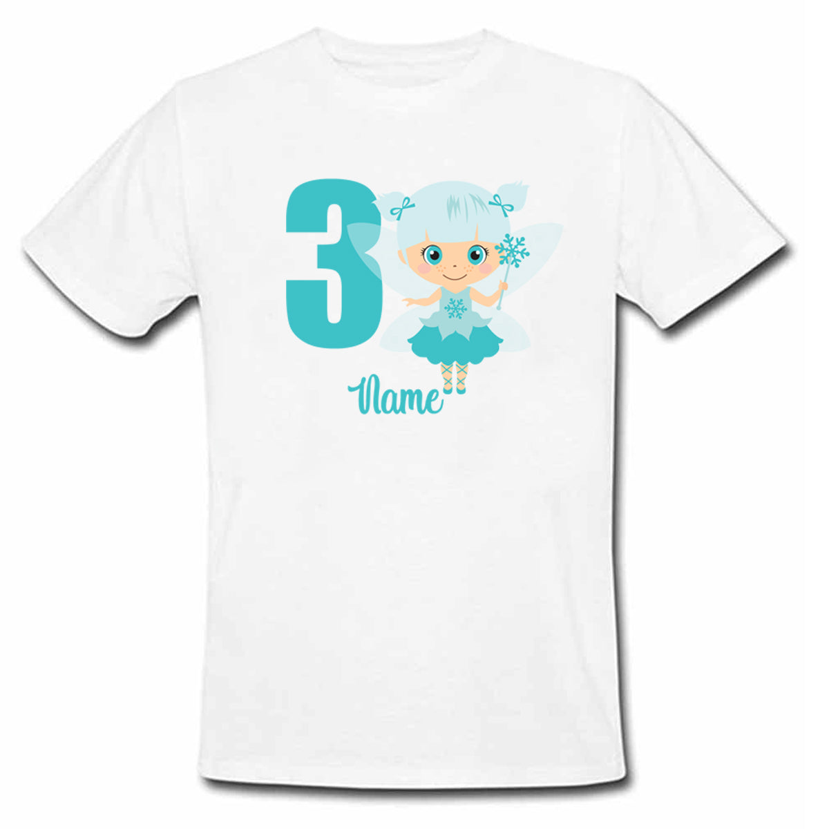 Sprinklecart Personalized Name and Age Printed Cute Fairy Poly-Cotton T Shirt Wear for Kids (White)