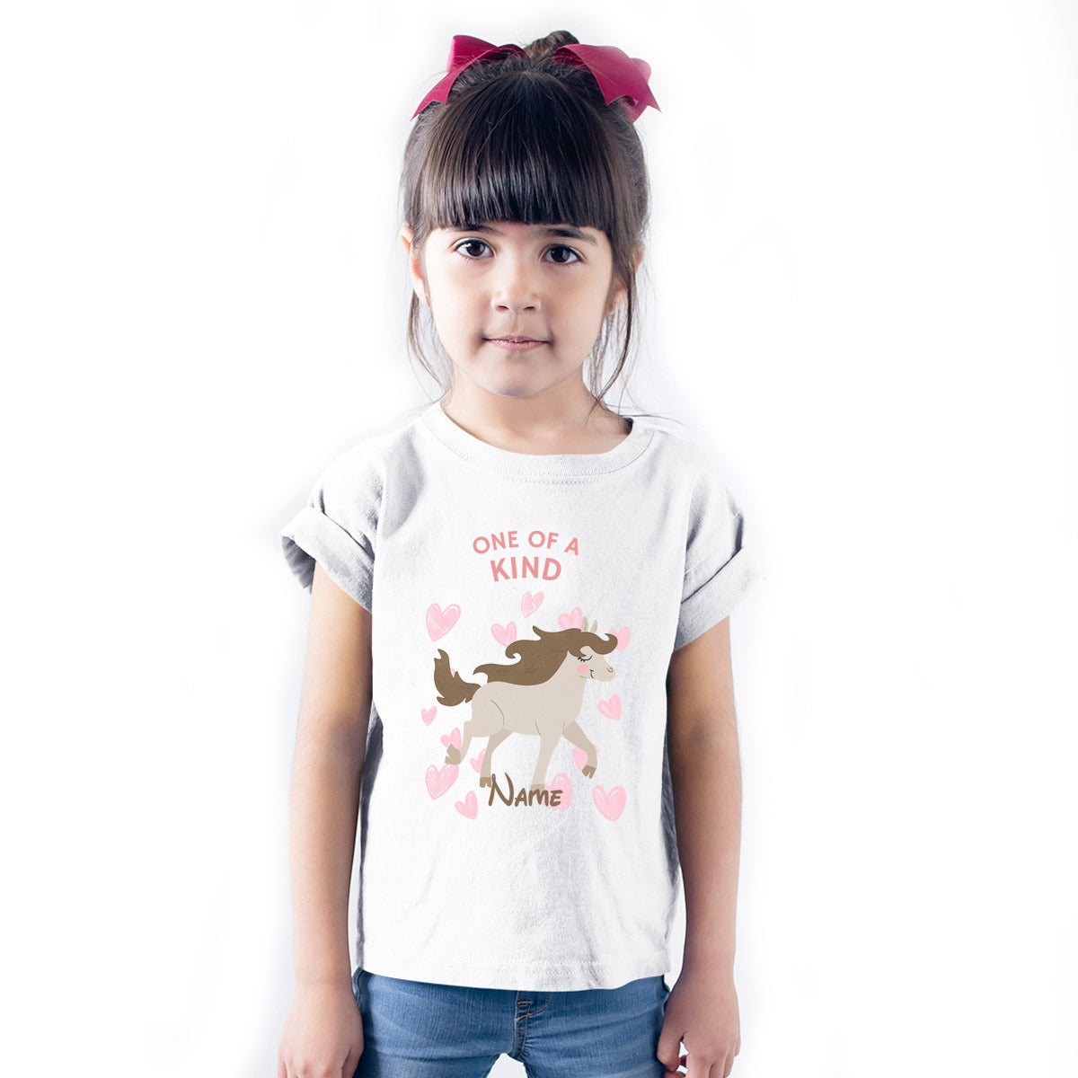 Sprinklecart Personalied One of A Kind Unicorn Poly-Cotton T Shirt for Kids (White)