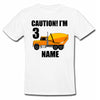 Sprinklecart Caution I'm 3 Printed Personalized 3rd Birthday Poly-Cotton T Shirt Wear for Kids (White)